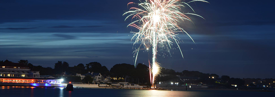 A sea front firework display at the Haven Hotel in Poole, Dorset