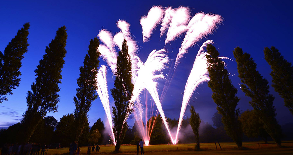 Firework display in a woodland setting