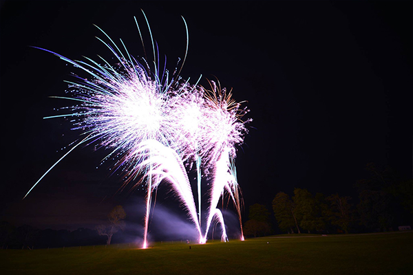 Large scale firework display at Dudsbury Gold Club